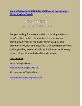 Seashell Accommodation All types rooms Lunch Book Motel Virginia Beach