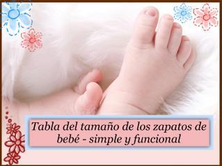 Tabla del tamaño de los zapatos de bebé- simple y funcional