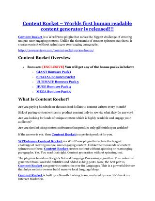 Content Rocket review and (COOL) $32400 bonuses