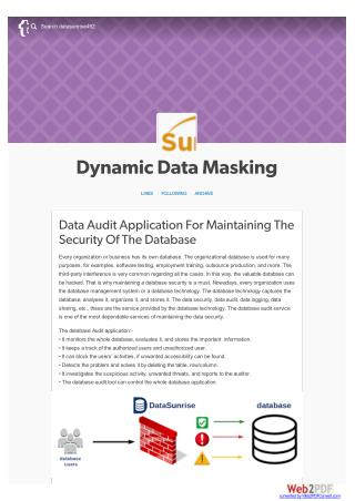 Data Audit Application For Maintaining The Security Of The Database