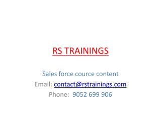 sales force online training cource content