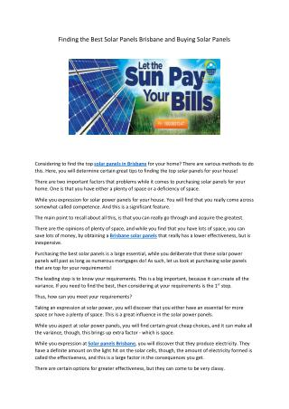 Finding the Best Solar Panels Brisbane and Buying Solar Panels