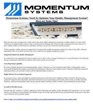 Momentum Systems: Need To Optimize Your Quality Management System? Here are Some Tips!