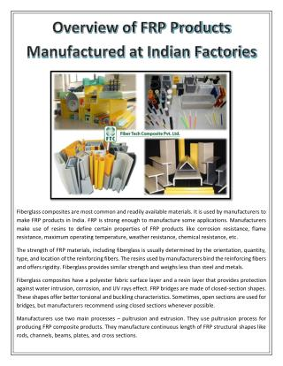Overview of FRP Products Manufactured at Indian Factories