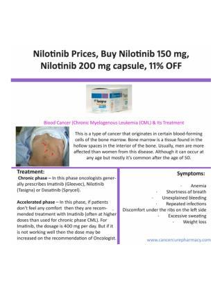 Buy Nilotinib 150 mg capsule Online, Nilotinib Cost | 11% Off