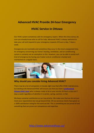 Advanced HVAC Provide 24-hour Emergency HVAC Service in Ottawa