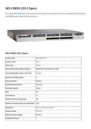 Ws-C3850-12S-S Specs