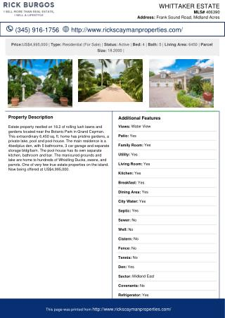 Whittaker Estate Single Family Home for sale in the Cayman Islands.