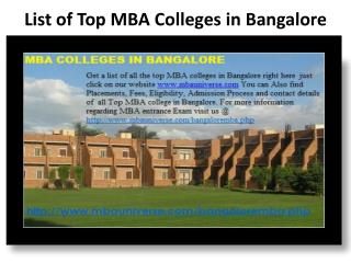 List of best MBA colleges in Bangalore
