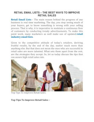 Retail Email Lists | B2B Email Experts