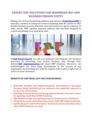 ERP Users Email Lists | B2B EMail Experts