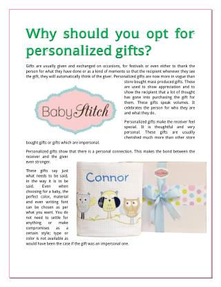 Why should you opt for personalized gifts?