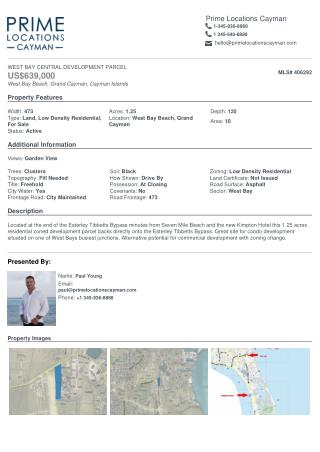 Buying property - West Bay central development Parcel Land for sale in Cayman.