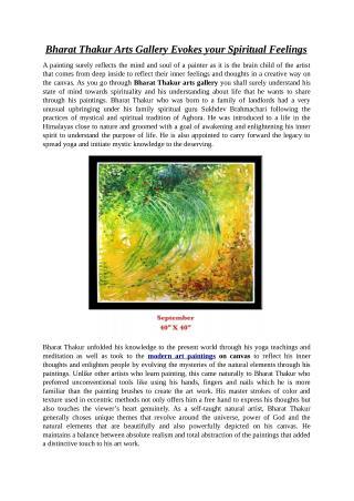 Bharat Thakur Arts Gallery Evokes your Spiritual Feelings