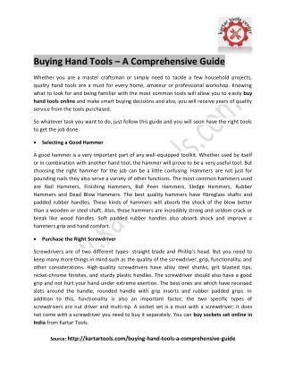 Buying Hand Tools – A Comprehensive Guide