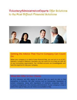 VoluntaryAdministrationExperts Offer Solutions to the Most Difficult Financial Solutions