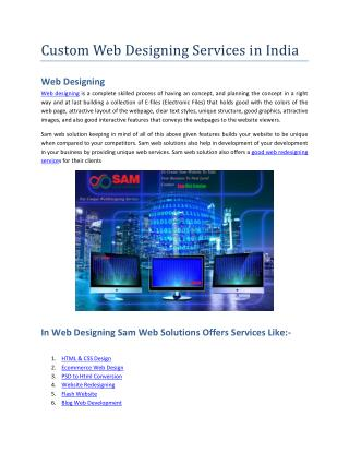 Custom Web Designing Services in India