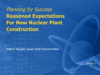 Planning for Success Reasoned Expectations For New Nuclear Plant Construction   NARUC Nuclear Issues Staff Subcommittee