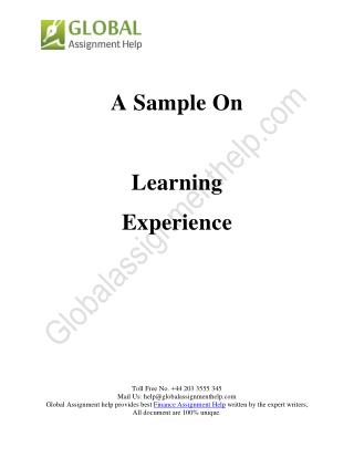 A sample On Learning Experience
