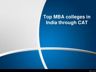 Top MBA colleges in India through CAT