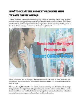 How To Solve The Biggest Problems With Tenant Online Offers