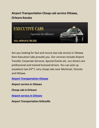 Airport Transportation Cheap cab service Ottawa, Orleans Kanata