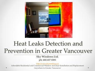Heat Leaks Detection and Prevention in Greater Vancouver BC