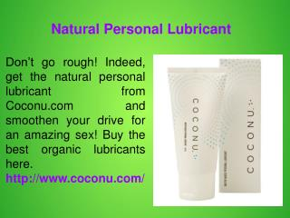 Organic Personal Lubricants