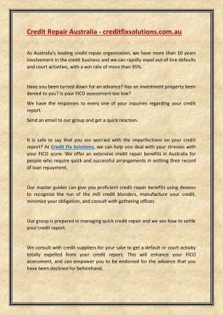 creditfixsolutions - credit repair australia