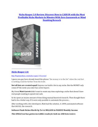 Niche Reaper V3 Review and (FREE) Niche Reaper V3 $24,700 Bonus