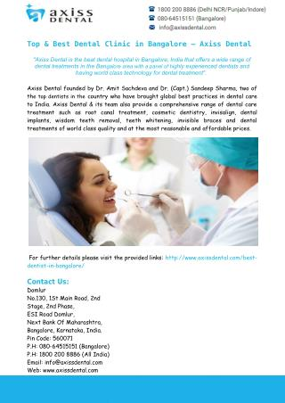 Top & Best Dental Clinic in Bangalore – Axiss Dental