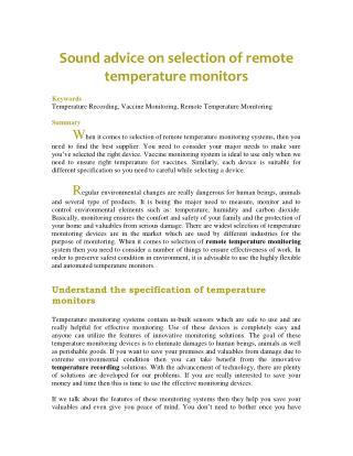Sound advice on selection of remote temperature monitors