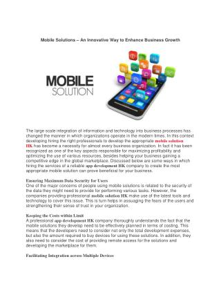 MOBILE SOLUTIONS – AN INNOVATIVE WAY TO ENHANCE BUSINESS GROWTH