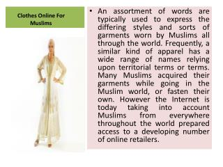 Clothes Online For Muslims
