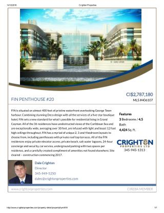 FIN PENTHOUSE #20 - Residential Property for sale in the Cayman Islands.