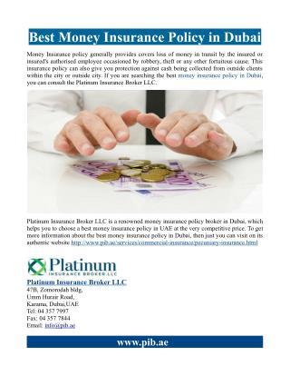 Best Money Insurance Policy in Dubai
