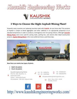 Choose The Right Asphalt Mixing Plant