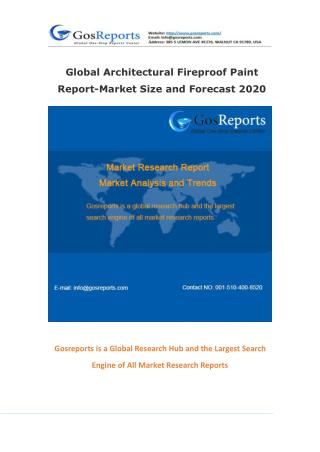 Global Architectural Fireproof Paint Report-Market Size and Forecast 2020