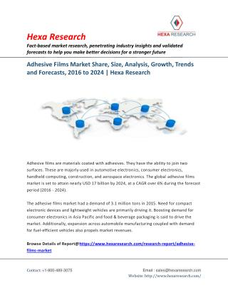Adhesive Films Market Research Report - Global Industry Analysis and Forecast to 2024 - Hexa Research