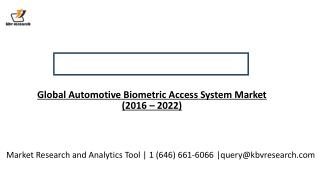 Global Automotive Biometric Access System Market