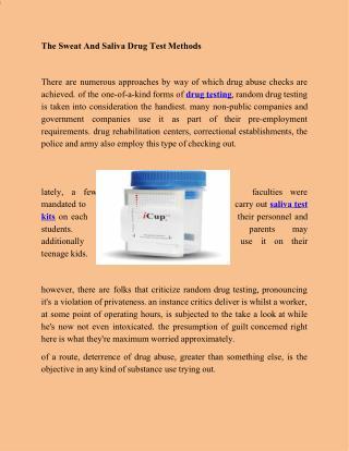 Saliva Drug Test Methods