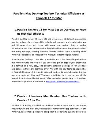 Parallels Mac Desktop Toolbox Technical Efficiency as Parallels 12 for Mac