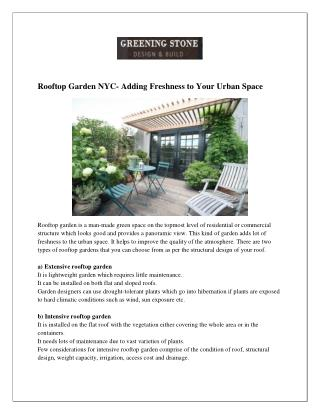 Rooftop Garden NYC- Adding Freshness to Your Urban Space
