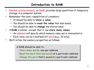 Introduction to RAM
