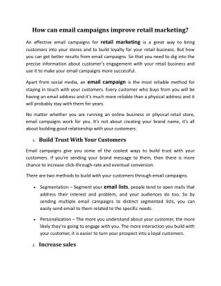 How can email campaigns improve retail marketing