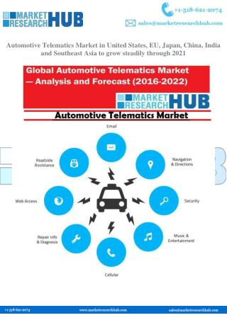 Automotive Telematics Market in United States, EU, Japan, China, India and Southeast Asia to grow steadily   through 202