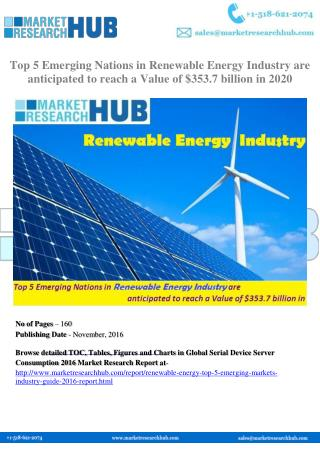 Top 5 Emerging Nations in Renewable Energy Industry are anticipated to reach a Value of $353.7 billion in 2020