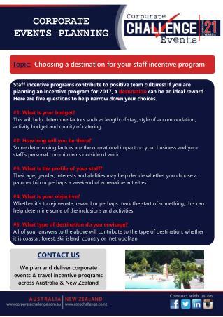 Choosing a destination for your staff incentive program