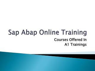 Sap abap online training - Course Content