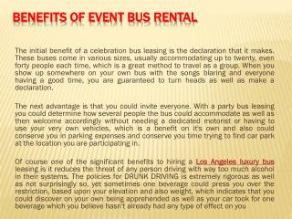 Benefits of Event Bus Rental